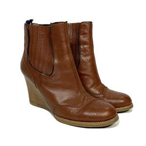 Tommy Hilfiger Leather Wedge Ankle Booties Size 7M